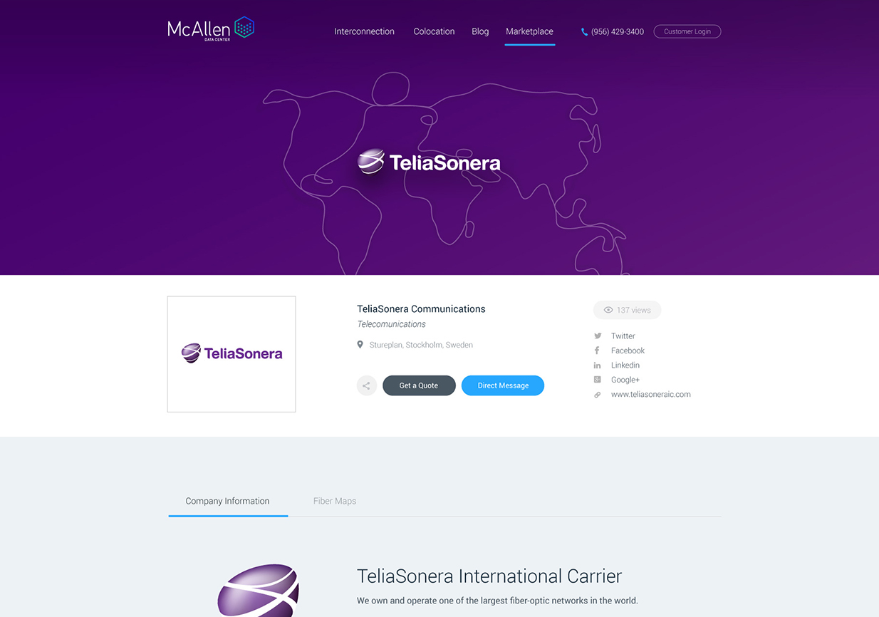 Example of a Carrier Storefront in the MDC Marketplace – We will work on adapting this profile to Telia Carrier's new branding guidelines.